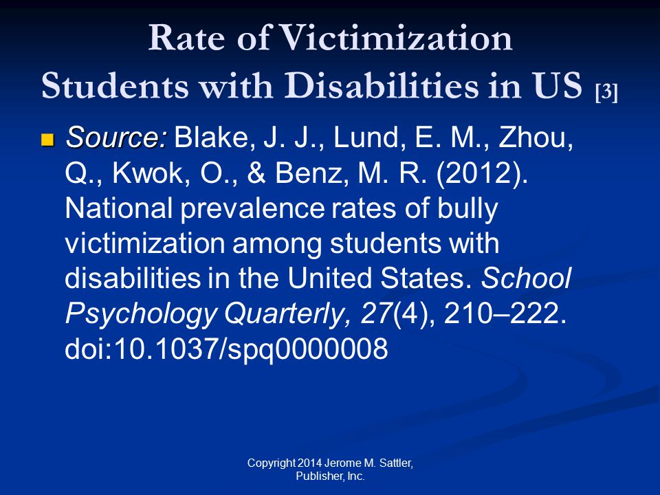Rate of Victimization Students with Disabilities in US [3]